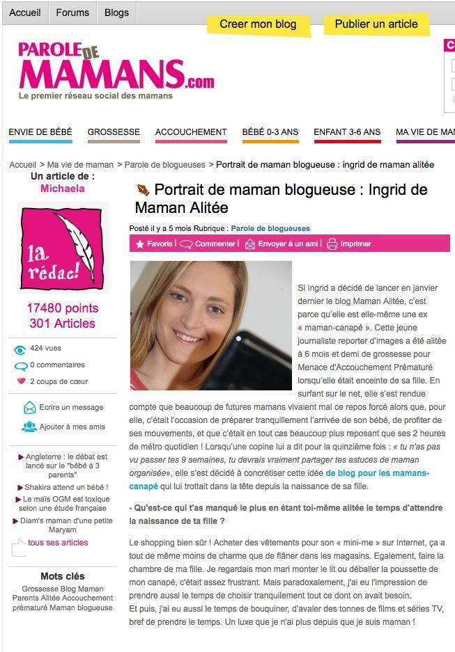 Site Internet Parole de mamans